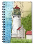 Heceta Head Lighthouse Or Nautical Chart Map Art Cathy Peek Spiral Notebook