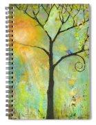 Hello Sunshine Tree Birds Sun Art Print Spiral Notebook