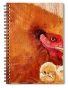 Hen With Chick On Wood Spiral Notebook