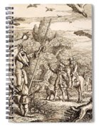 Heron Hawking, Engraved By Wenceslaus Spiral Notebook