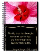 Hibiscus Closeup With Bible Quote From Song Of Songs Spiral Notebook