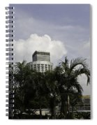 High Rise Buildings Behind Trees Along With Construction Work In Singapore Spiral Notebook
