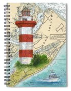 Hilton Head Island Lighthouse Sc Nautical Chart Map Art Cathy Peek Spiral Notebook