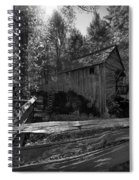 Historical 1868 Cades Cove Cable Mill In Black And White Spiral Notebook