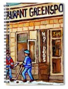 Hockey And Hotdogs At The Greenspot Diner Montreal Hockey Art Paintings Winter City Scenes Spiral Notebook