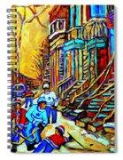 Hockey Art Montreal Winter Scene Winding Staircases Kids Playing Street Hockey Painting  Spiral Notebook