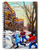 Hockey Art - Paintings Of Verdun- Montreal Street Scenes In Winter Spiral Notebook