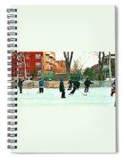 Hockey Art Shimmy Game Local Rink Montreal Paintings Winter Street Scene Verdun Art Carole Spandau Spiral Notebook