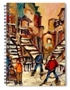 Hockey Game Near Winding Staircases Montreal Streetscene Spiral Notebook