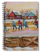 Hockey Game-outdoor Hockey -beautiful Canadian Winter Landscape-hockey Heroes-carole Spandau Spiral Notebook