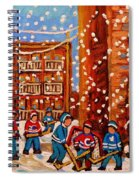 Hockey In The Laneway On Snowy Day Paintings Of Montreal Streets In Winter Carole Spandau Spiral Notebook