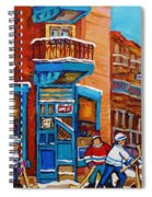 Hockey Stars At Wilensky's Diner Street Hockey Game Paintings Of Montreal Winter  Carole Spandau Spiral Notebook