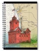 Holland Harbor Lighthouse Mi Nautical Chart Map Art Spiral Notebook