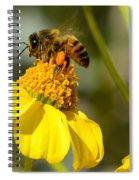 Honeybee Feasting On Nectar Of Yellow Flower Spiral Notebook