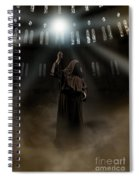 Hooded Man Holding Glowing Wizard Staff  Spiral Notebook