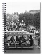 Horse And Trolley Main Street Disneyland Bw Spiral Notebook