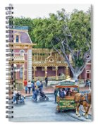 Horse And Trolley Turning Main Street Disneyland 01 Spiral Notebook