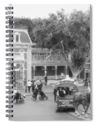 Horse And Trolley Turning Main Street Disneyland Bw Spiral Notebook