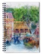 Horse And Trolley Turning Main Street Disneyland Photo Art 01 Spiral Notebook