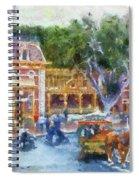 Horse And Trolley Turning Main Street Disneyland Photo Art 02 Spiral Notebook