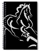 Horse - Fast Runner- Black And White Spiral Notebook