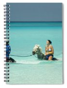 Horse Riders In The Surf Spiral Notebook