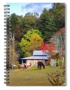 Horses And Barn In The Fall Spiral Notebook