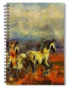 Horses On The Gogh Spiral Notebook