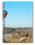 Hot Air Balloon Over Farm Land Spiral Notebook