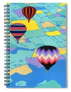 Abstract Hot Air Balloons - Ballooning - Pop Art Nouveau Retro Landscape - 1980s Decorative Stylized Spiral Notebook