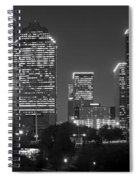 Houston Skyline At Night Black And White Bw Spiral Notebook
