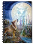 Wolf Howling And Full Moon Spiral Notebook