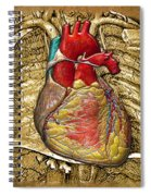 Human Heart Over Vintage Chart Of An Open Chest Cavity Spiral Notebook