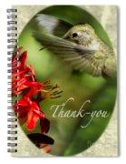 Hummingbird Thanks Spiral Notebook
