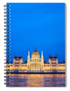 Hungarian Parliament Building At Dusk Spiral Notebook