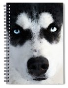 Husky Dog Art - Bat Man Spiral Notebook