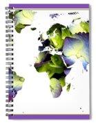 Hydrangea World Map Spiral Notebook