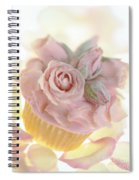 Iced Cup Cake With Sugared Pink Roses Spiral Notebook