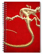 Iguana Skeleton In Gold On Red  Spiral Notebook