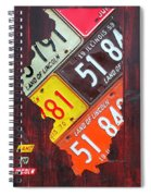 Illinois License Plate Map Spiral Notebook