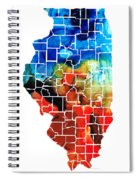 Illinois - Map Counties By Sharon Cummings Spiral Notebook