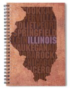 Illinois State Word Art On Canvas Spiral Notebook