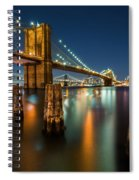 Illuminated Brooklyn Bridge By Night Spiral Notebook