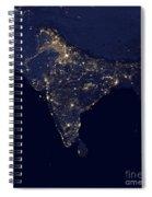 India At Night Satellite Image Spiral Notebook