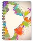 India Watercolor Map Painting Spiral Notebook