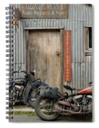 Indian Chout And Chief Bobber At The Old Okains Bay Garage Spiral Notebook
