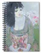 Indian Earring Dark-haired Girl In Green Oil On Canvas Spiral Notebook