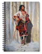 Indian Maid At Stockade By Charles Marion Russell Spiral Notebook