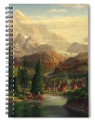 Indian Village Trapper Western Mountain Landscape Oil Painting - Native Americans Americana Stream Spiral Notebook