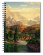Indian Village Trapper Western Mountain Landscape Oil Painting - Native Americans -square Format Spiral Notebook